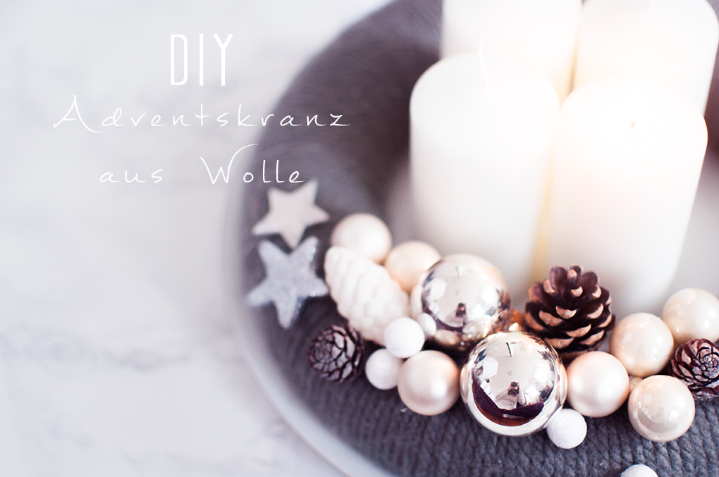 diy adventskranz aus wolle basteln. Black Bedroom Furniture Sets. Home Design Ideas